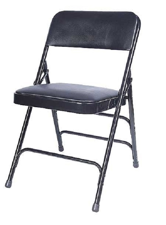 Merveilleux BLACK VINYL METAL FOLDING CHAIR