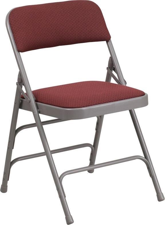 Burgundy Fabric Metal Folding Chair