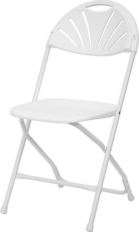 Merveilleux White Fan Back Folding Chair