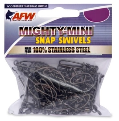 AFW MIGHTY-MINI STAINLESS STEEL SNAP SWIVELS- 50 PACK