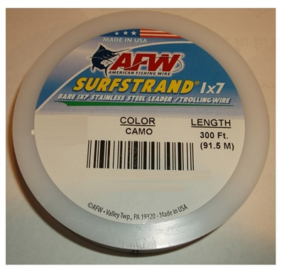 AFW SURFSTRAND BARE STAINLESS STEEL LEADER/TROLLING WIRE- 300'