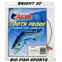 AFW TOOTH PROOF STAINLESS STEEL LEADER - SINGLE STRAND WIRE - BRIGHT - 15 FEET