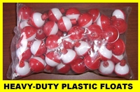SNAP ON FISHING BOBBERS/FLOATS- RED & WHITE- 50 PACK - 1-1/2""