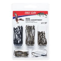 EAGLE CLAW BASS HOOK ASSORTMENT- 67 PIECES #618H