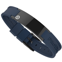 Ultimate Shiny Black Magnetic Bracelet with Blue Strap