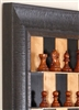 "3"" Padauk Chess Pieces on Black Cherry Board with Rustic Brown Frame"