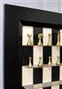 "3"" Modern Brass Chess Pieces (Italfama) on Black Maple Board with Flat Black Frame"