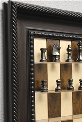 "3"" Metal Chess pieces on Maple Nut board with Traditional Brown Frame"