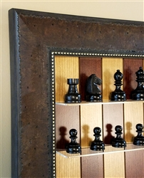 "3"" Philpin Chess Pieces on Red Cherry Board with Walnut Scoop Frame"