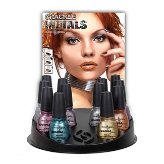 China Glaze Crackle Metals Nail Polish - 12 Piece Counter Display