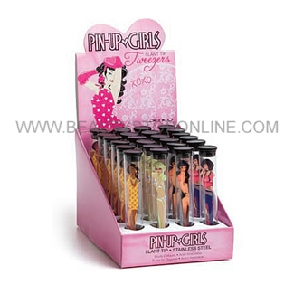 Ultra Pin-Up Girls Slant Tip Tweezers 24 Piece Display