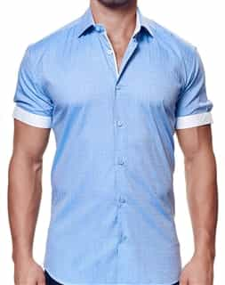 Men Designer Blue Dress Shirt