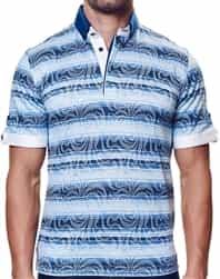 Navy Blue Stripe Sport Polo
