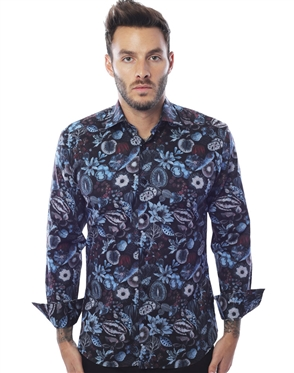 Slim Fit Navy Floral Woven