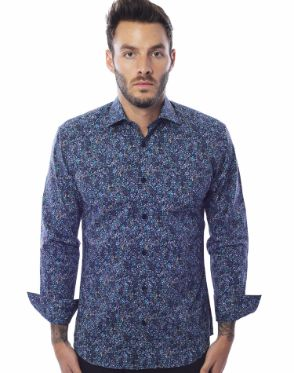 Navy and Blue Floral Shirt