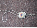 Large Bolo Tie silver w/ your choice of bolo rope Black or Silver