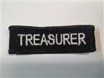 "Treasurer 3""x3/4"" White on Black"