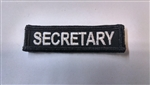 "Secretary 3""x3/4"" White on Black"