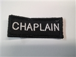 "Chaplain 3""x3/4"" White on Black"