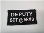 "Deputy Sgt.@Arms 3""x3/4"" White on Black"