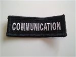 "Communications 3""x3/4"" White on Black"
