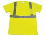 Safety Lime T-Shirt ANSI Class 2 100% Polyester Breathable Fabric Short Sleeve with Pocket