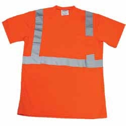 Safety Orange T-Shirt ANSI Class 2 100% Polyester Breathable Fabric with Pocket