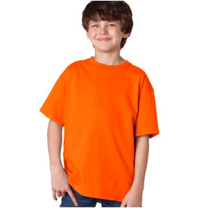 Gildan Safety Orange T-Shirt Youth 50/50 Cotton/Polyester