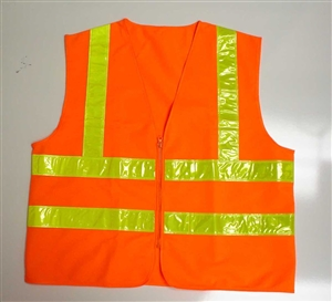 Polyester Solid Fabric Orange Safety Vest