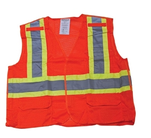 Class 2,  5 point Break Away Orange Safety Vest