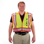 Fire Dept 5 Point Breakaway Public Safety Vest Lime
