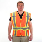 1st Responder 5 Point Breakaway Reflective Solid Safety Vest Orange