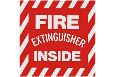 "FIRE EXTINGUISHER INSIDE SIGN - 4"" X 4"""
