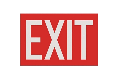 "EXIT RED SIGN - 12"" X 8"""