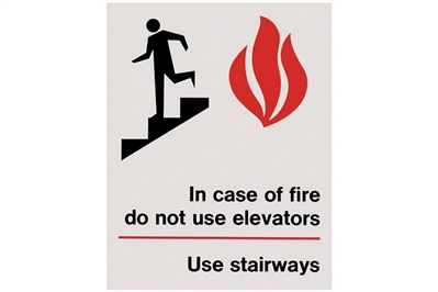 "IN CASE OF FIRE USE STAIRWAYS SIGN - 5"" X 7"""
