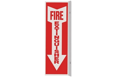 "FIRE EXTINGUISHER ARROW 90 ANGLE SIGN - 4"" X 12"""