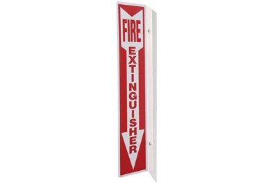 "FIRE EXTINGUISHER ARROW 90 ANGLE SIGN - 4"" X 18"""