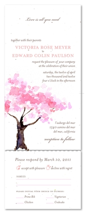 Pink Wedding Invitations ~ Spring Blooms Tree on White seeded paper