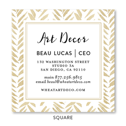 Seeded Flower Chevron Business Cards | Gold Wheat