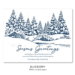 Plantable Business Holiday Cards ~ Cozy Snow Scene by Green Business Print