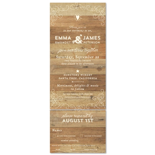 Unique Woodsy Wedding Invitations ~ Elegant Back Country (100% recycled paper)