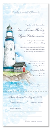 Lighthouse Wedding Invitations for your Beach Reception | ForeverFiances Weddings