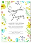 WildflowerWedding Invitations on white seeded paper