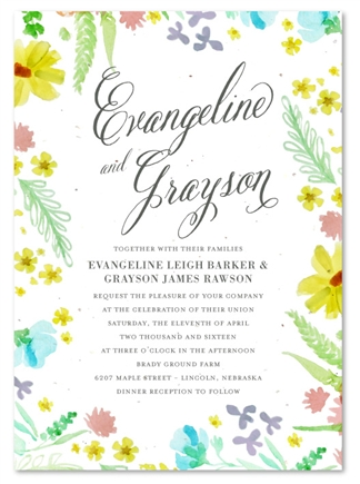 Wildflowers Wedding Invitations on white seeded paper | Floral Grace