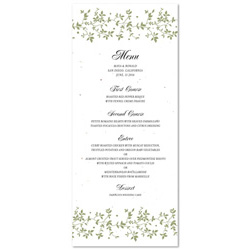 Seeded Paper Menus ~ Green Vines on plantable paper