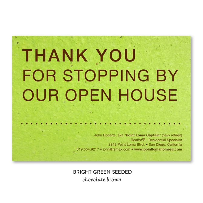 Unique Open House Realtors Thank You Cards on Seeded Paper