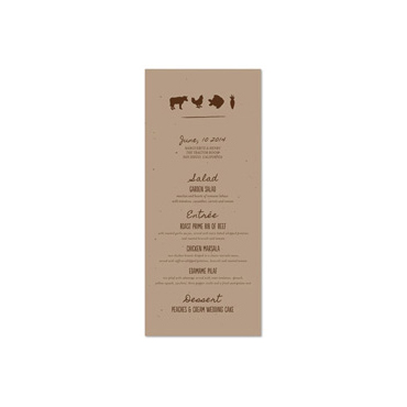 Garden Seeded Paper Menus ~ Organic Foods on seeded paper