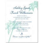 Destination Wedding Invitations on White seeded paper ~ Palms & Coconuts