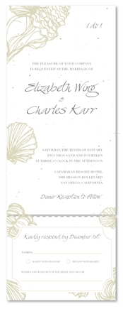 Beach Wedding Invitations on white seeded paper | Sea Shell