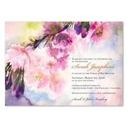 Pink Bat Mitzvah Invitations | Spring song